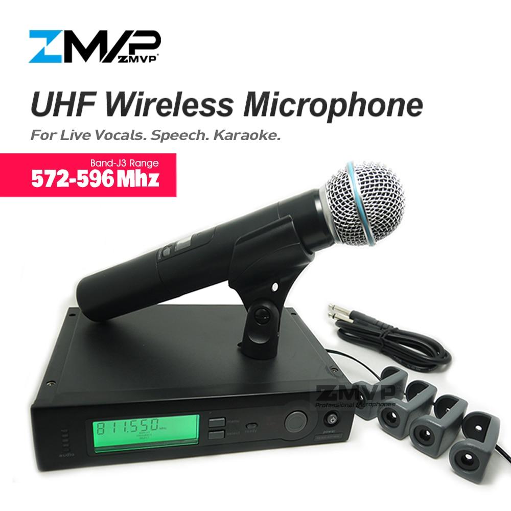 ZMVP UHF Professional SLX24 BETA58 Wireless Microphone SLX Cordless Karaoke System With Handheld Transmitter Band J3 572-596Mhz