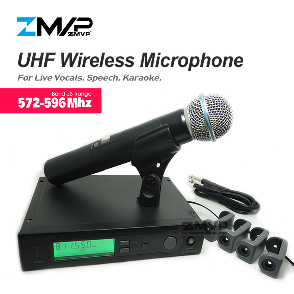 ZMVP UHF Professional SLX24 BETA58 Wireless Microphone SLX Cordless Karaoke System With Handheld Transmitter Band J3 572-596Mhz zmvp p24 m58 uhf professional wireless microphone system with m58 handheld transmitter mic for stage live vocals karaoke speech