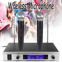 VHF 280MHZ Dual Wireless Microphone System Professional Cordless Handheld Karaoke KTV Mic Receiver Microphones Kit with Battery
