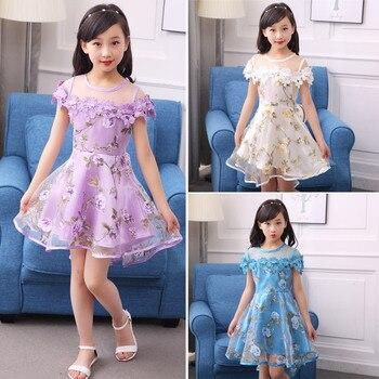 Детское платье с цветами для девочек, детское платье из вуали для девочек на день рождения, модное трикотажное платье принцессы для детей 3, 5, 8, 10, 12 лет, 2020