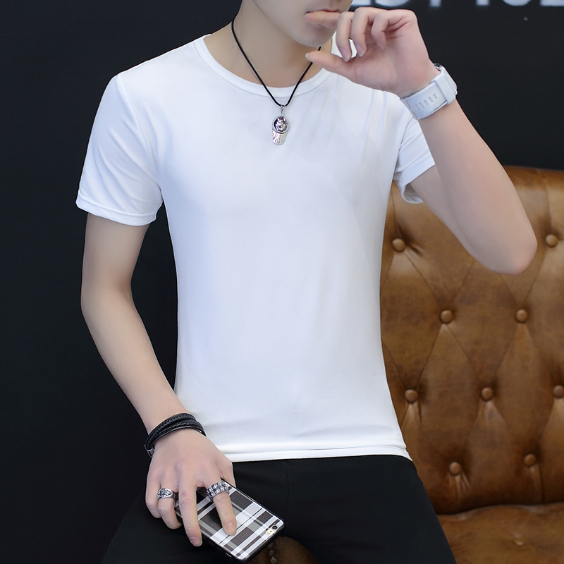 2019 Summer Men's Slim Fit Clothes Short Sleeves Round Neck Solid Color Hawaii Clothing Nice Black/White Color T-shirts M-2XL
