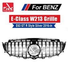 For Mercedes W213 Front Grille grill GT R style ABS Silver With Camera E class E200 E250 E300 E350 E400 E63 look grills 2016-18