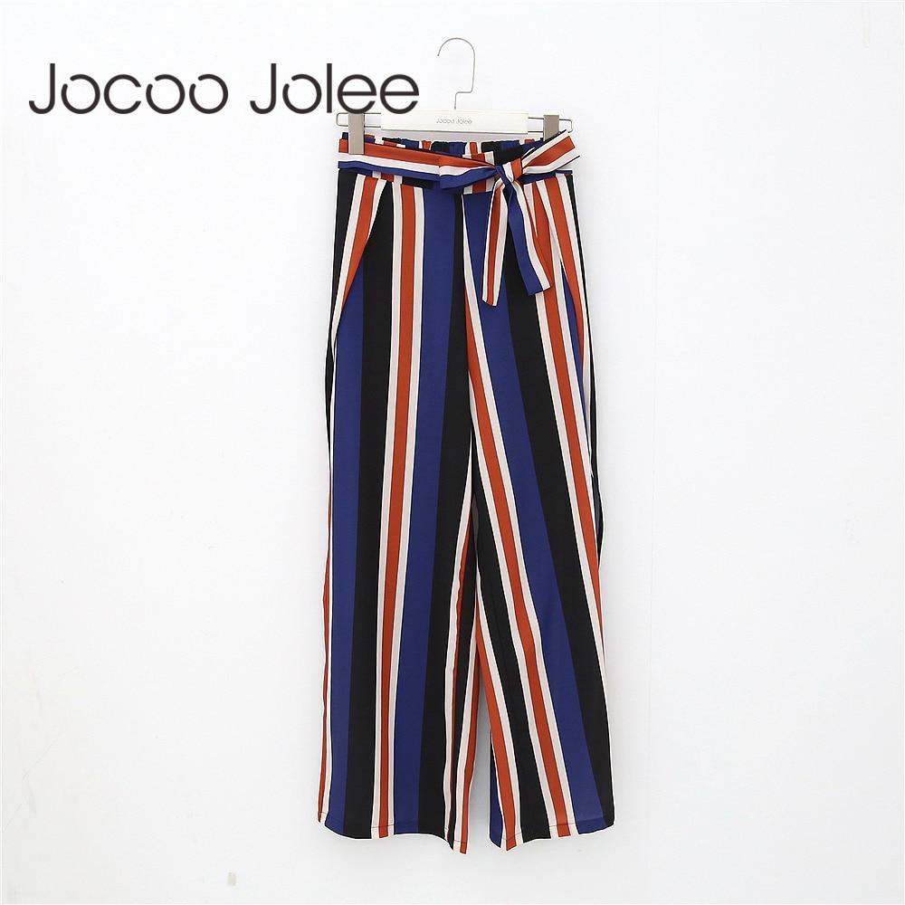 Jocoo Jolee Striped Loose   Wide     Leg     Pant   for Women Sexy Side Split Design Long   Pants   Bohemian High Waist Beach Wearings 2018 New