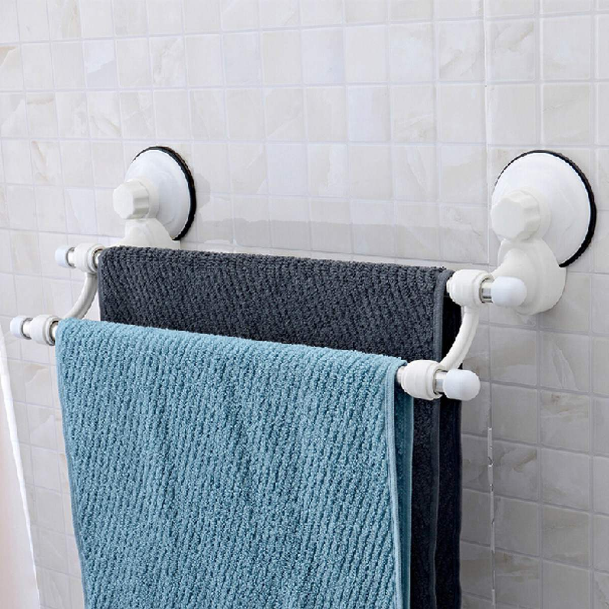 Wall Mounted Stainless Steel 2 Bars Towels Rail Holder Storage Racks Shelf Stand Kitchen Bathroom Hotel Suction Cup Organizer