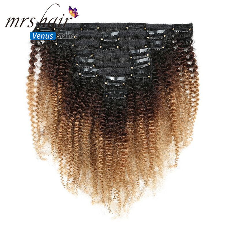 MRS Hair 120g Clip Full Head 1B/4/27 Afro Kinky Curly Clip In Hair Extensions 8pcs/set Brazilian Human Extension Clip Hair