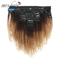 MRS Hair 120g Clip Full Head 1B/4/27 Afro Kinky Curly Clip In Hair Extensions 8pcs/set Brazilian Human Extension Clip Hair