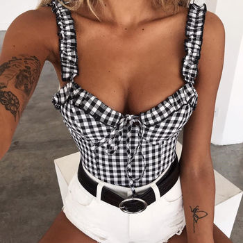 2019 Hot sale Lotus leaf edge solid v-neck New Women Sexy Off Shoulder Casual Bralet Tank Top Blouse T-Shirt Crop Cami Tops цена 2017