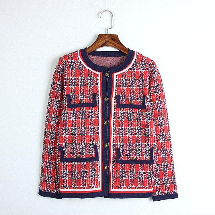 2018 nouveau pull en tricot d'hiver femmes de luxe conception de piste Plaid tigre bouton poches décontracté manteau de tricot pull Cardigan femme