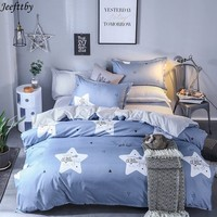 Home Textiles Lucky Star Print Bedding Set 3/4pcs Queen Full King Size Duvet Cover Child Adult Pillowcase Flat Sheet Bedclothes