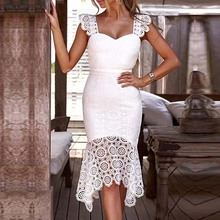Women Sexy Hollow Out Crochet Backless Bodycon Lace Dress Female Solid Sleeveless V-Neck Dress Elegant Summer White Party Dress цена 2017