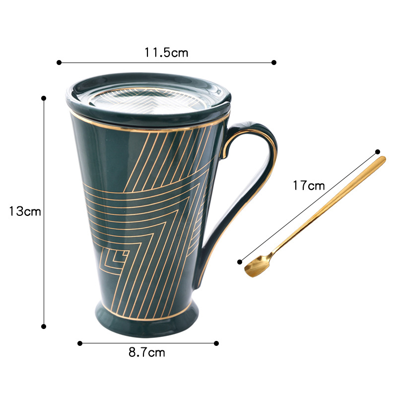 Ceramics Mugs Hand Cup With Straw Lid Cup Sleeve Mug Tea Milk Cups Home Office School Gift