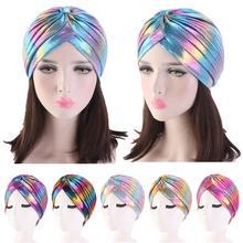 Kobiety Glitter Turban czapki muzułmańskie głowy Rainbow indie Cap Headwrap Chemo utrata włosów kapelusz islamska chustka na głowę czapki