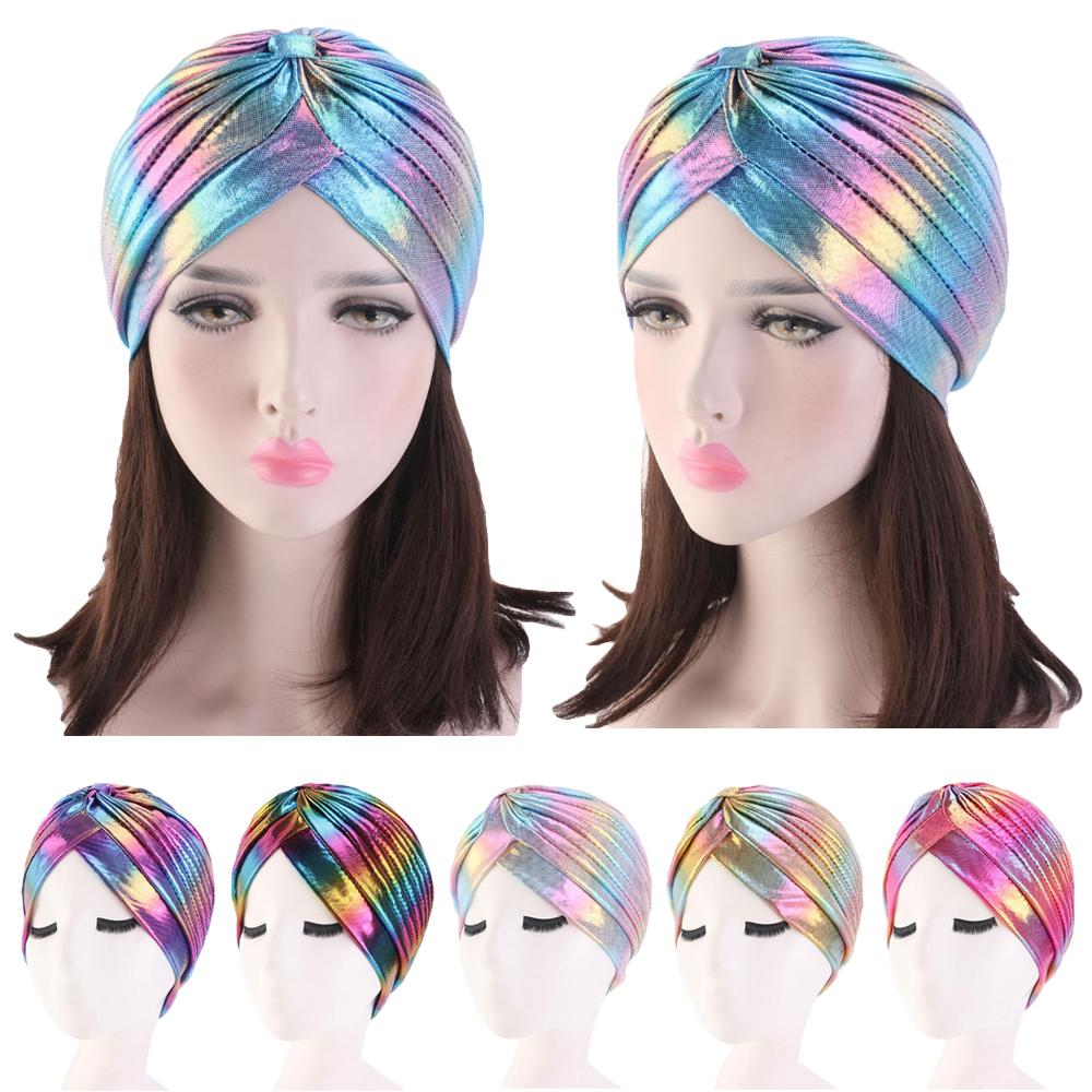 Turban Cap Shiny Shimmer Glitter Sparkly Indian Hat Muslim Women Head Scarf Indian Pleated Beanie Bonnet Islamic Hair Loss Cover