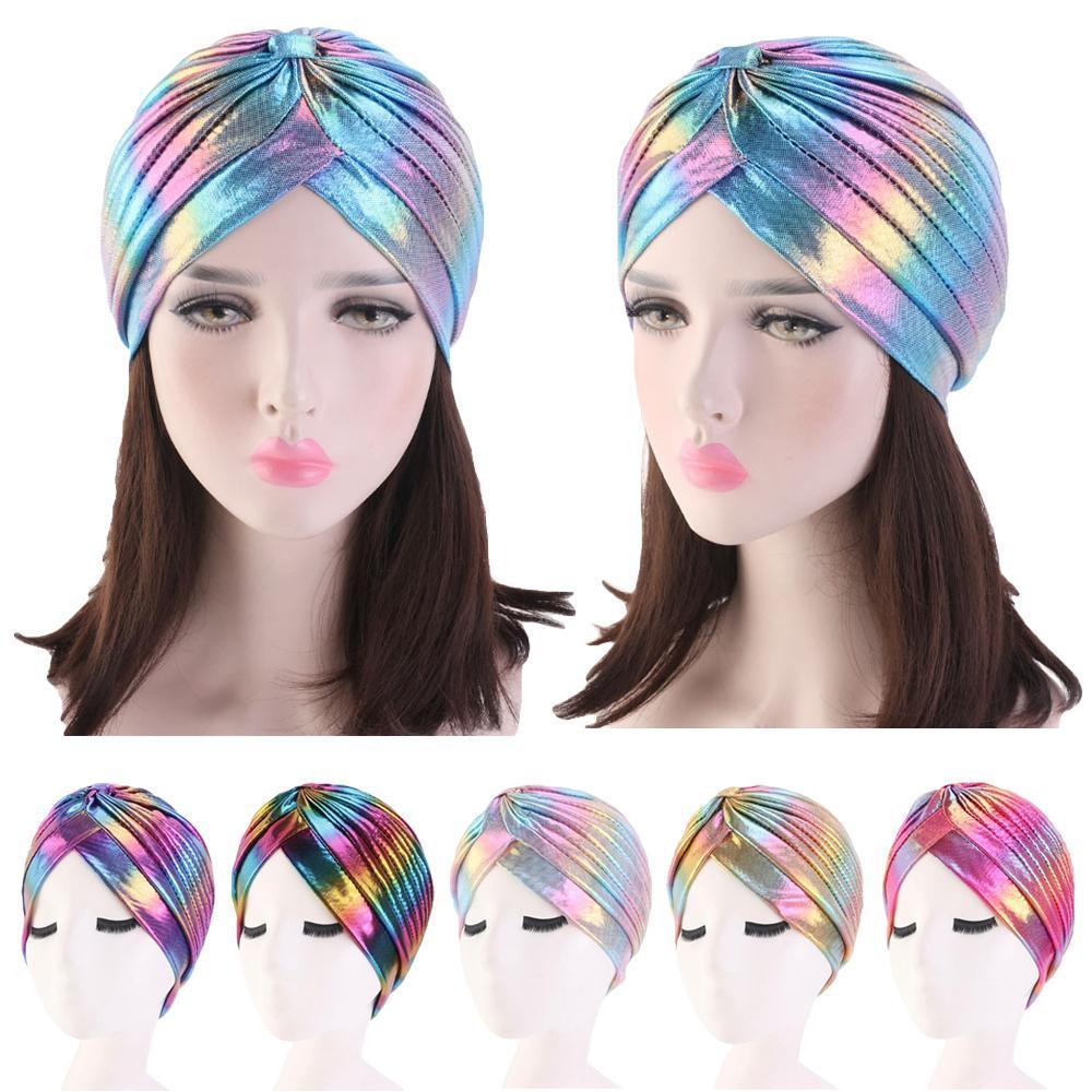 Women Glitter Turban Caps Muslim Head Rainbow India Cap Headwrap Chemo Alopecia Hair Loss Hat Islamic Headscarf Bonnet   Beanies