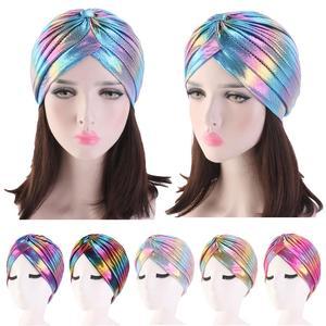 Image 1 - Women Glitter Turban Caps Muslim Head Rainbow India Cap Headwrap Chemo Hair Loss Hat Islamic Headscarf Bonnet Beanies