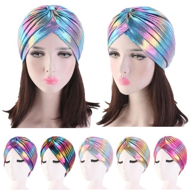 Women Glitter Turban Caps Muslim Head Rainbow India Cap Headwrap Chemo Hair Loss Hat Islamic Headscarf Bonnet Beanies