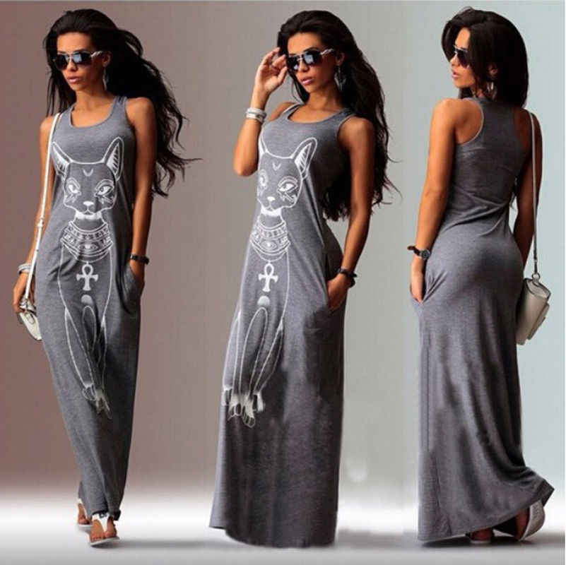2019 New Fashion Hot Seller Women Summer Cat Print Casual Loose Tank Top Dress Long Maxi Dress Holiday Daily Beach Sundress