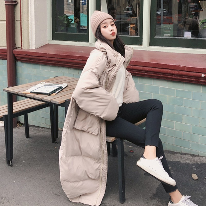 Thick Warm Long Winter Jacket Women Fashion Large Fur Collar Plus Size Parka Over The Knee Down Cotton Jacket Loose Coat Ls146 in Parkas from Women 39 s Clothing
