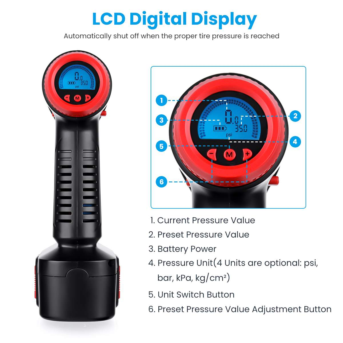 Image 3 - 12V 130PSI Cordless Handheld Air Inflatable Pump Car Tyre Inflator LCD Digital with Rechargeable Battery For Auto Emergency-in Inflatable Pump from Automobiles & Motorcycles