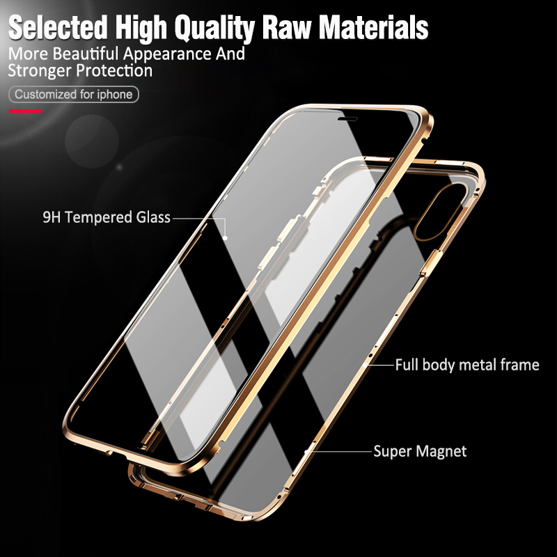 Image 5 - Double sided glass Metal Magnetic Case for iPhone X 10 XS MAX XR Glass Case Magnet Cover 360 Full Protection For iphone XS Max-in Fitted Cases from Cellphones & Telecommunications