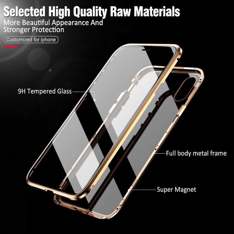 Image 5 - Двухсторонняя, для стекла металлический магнитный чехол для iphone X 10 XS MAX XR стеклянный чехол Магнит крышка 360 полная защита для iphone XS Max-in Подходящие чехлы from Мобильные телефоны и телекоммуникации