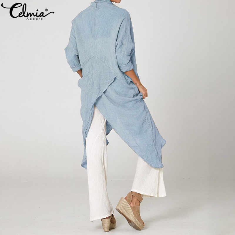 Винтажная женская блузка cellumia, Длинные рубашки, лето 2019, повседневные асимметричные топы с воротником-хомутом и длинным рукавом, свободные блузы размера плюс