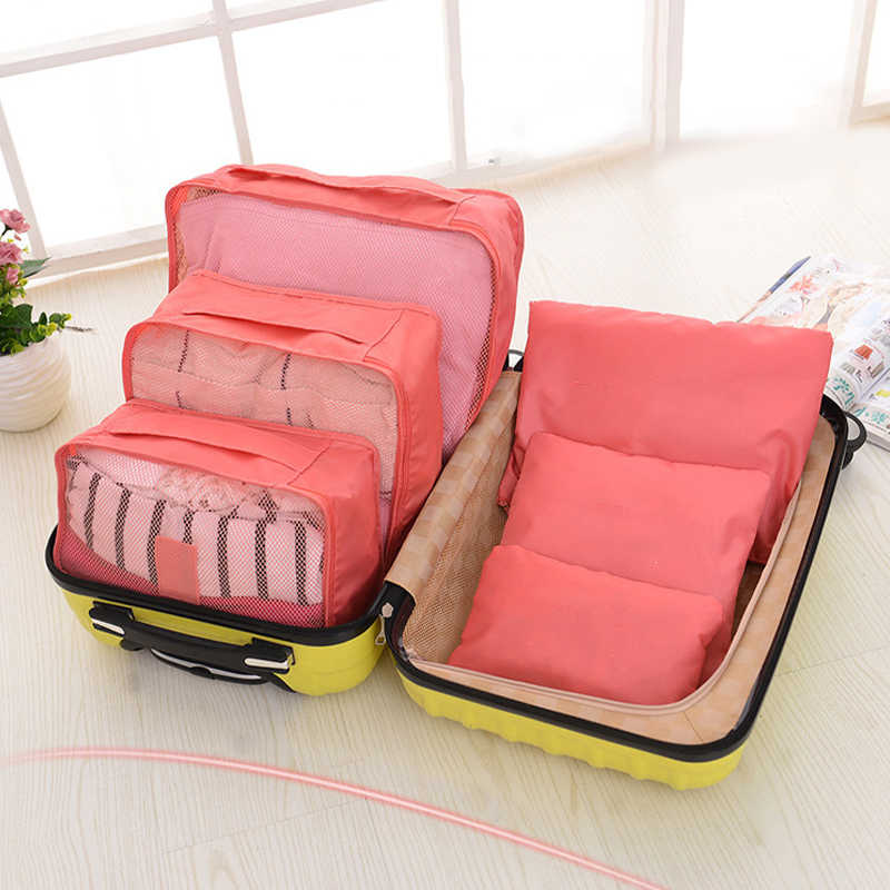 6 Pieces Of Waterproof Padded Clothing Finishing Travel Storage Bag Clothes Shoe Cabinet Wardrobe Large Suitcase Shoe Bag