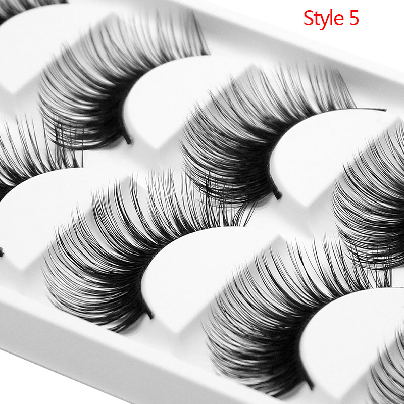 Kimcci 5pairs Super Long 3D Soft Mink Lahses False Eyelashes Handmade Wispy Fluffy Long Lashes Natural Makeup Tools Faux Cilia