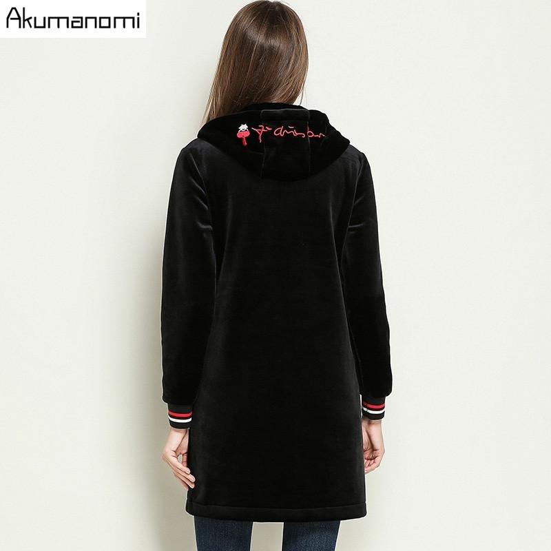 Autumn Winter Velvet Velour   Trench   Letter Embroidery Full Sleeve Women Clothes Spring Tops Overclothes Coat Plus Size 5XL-M