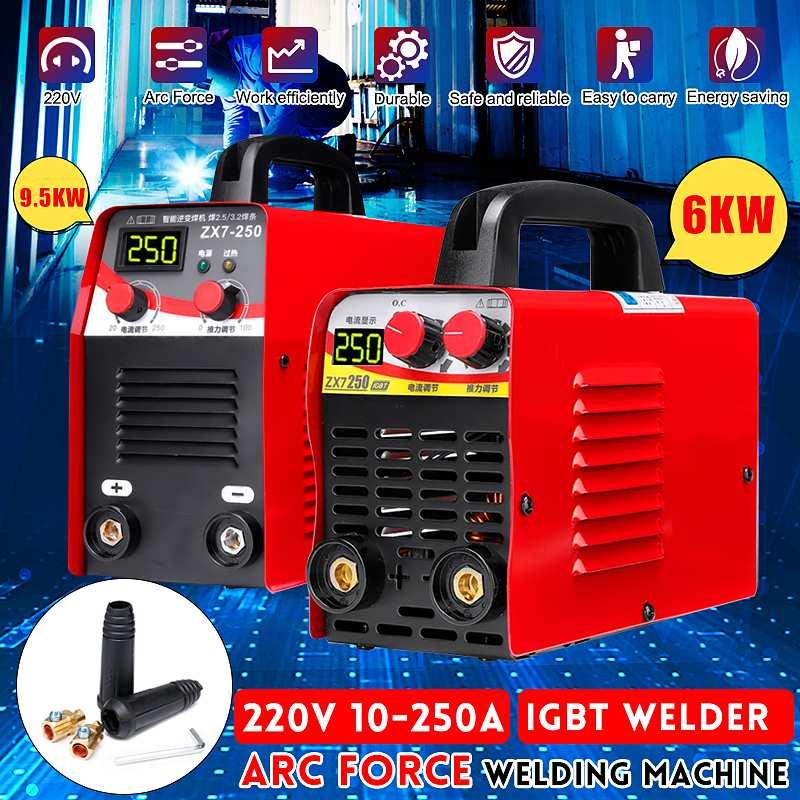 220 V 6KW/9.5KW ZX7-250 10-250A Arc Kraft Elektrische Schweißen Maschine Mini/Pro LCD Digital Display MMA IGBT inverter Schweißer Neueste
