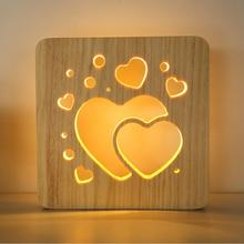 Desk Lamp USB Power Carving Hollow Wood Night 3W LED Table Light 5V/1A Warm White table led lamp