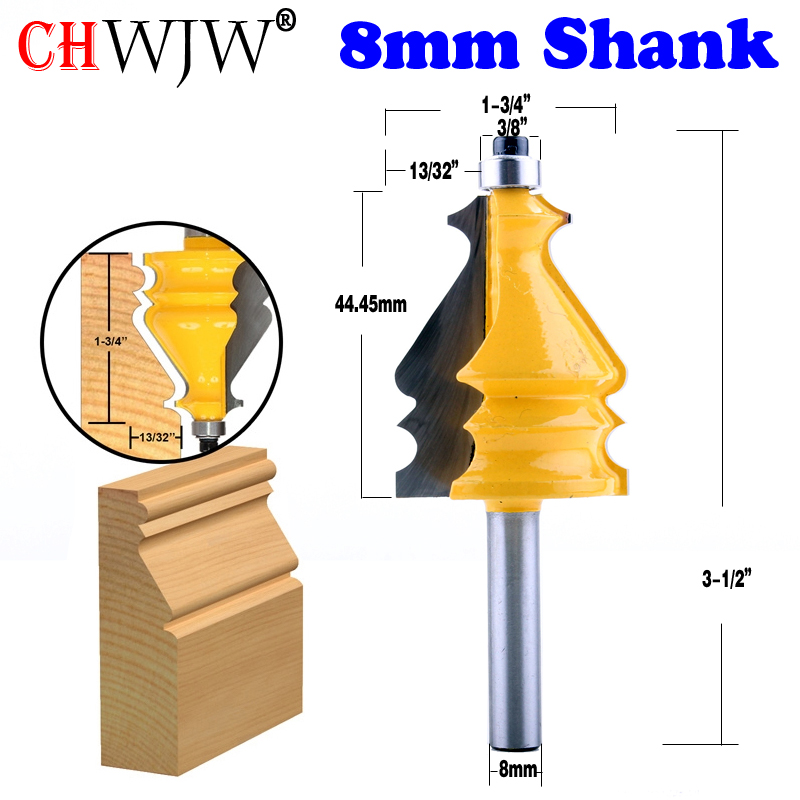 1PC 8mm Shank Architectural Molding Router Bit Line Knife Woodworking Cutter Tenon Cutter For Woodworking Tools