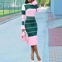 Casual Bodycon Dress Women 2019 New Sexy Fashion Stripe Pink Ruffle Flare Long Sleeve Sweet Elegant Ladies Autumn Midi Dresses