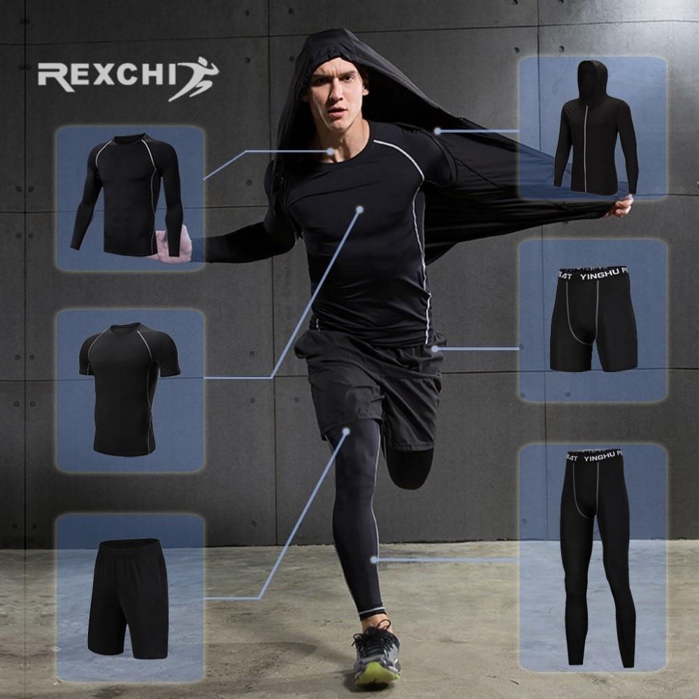 REXCHI survêtement homme Compression Sport costume Gym Fitness vêtements course Jogging Sport porter entraînement exercice entraînement collants