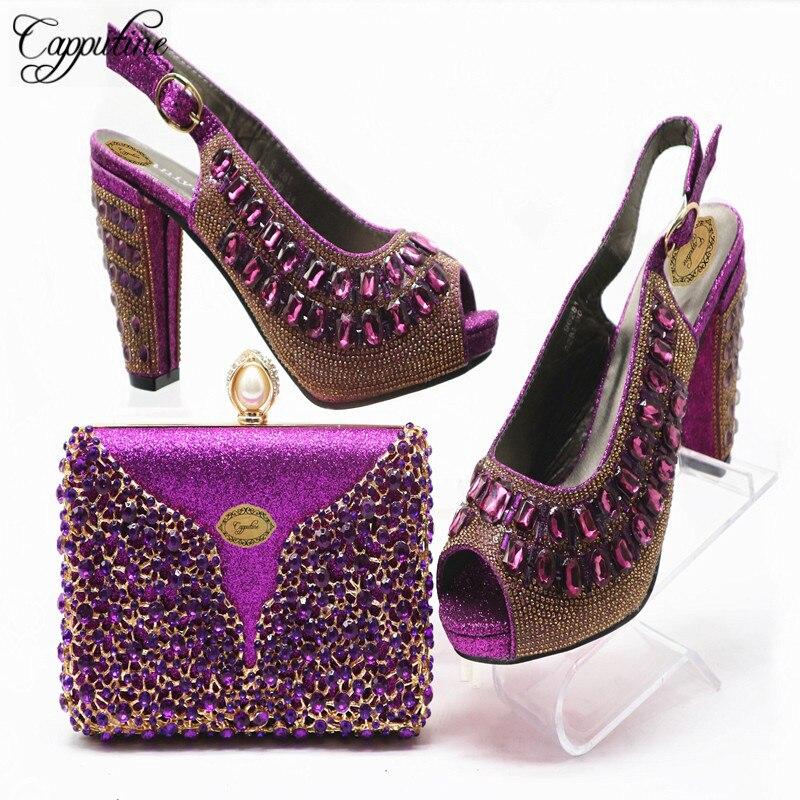 High Quality Nigerian PU Leather With Rhinestone Pumps Shoes And Bag Set Italian Purple Women Shoes