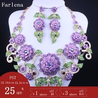 FARLENA Wedding Jewelry Luxury Multicolor Crystal Rhinestones Big Flower Necklace Earrings for Women Fashion Bridal Jewelry sets