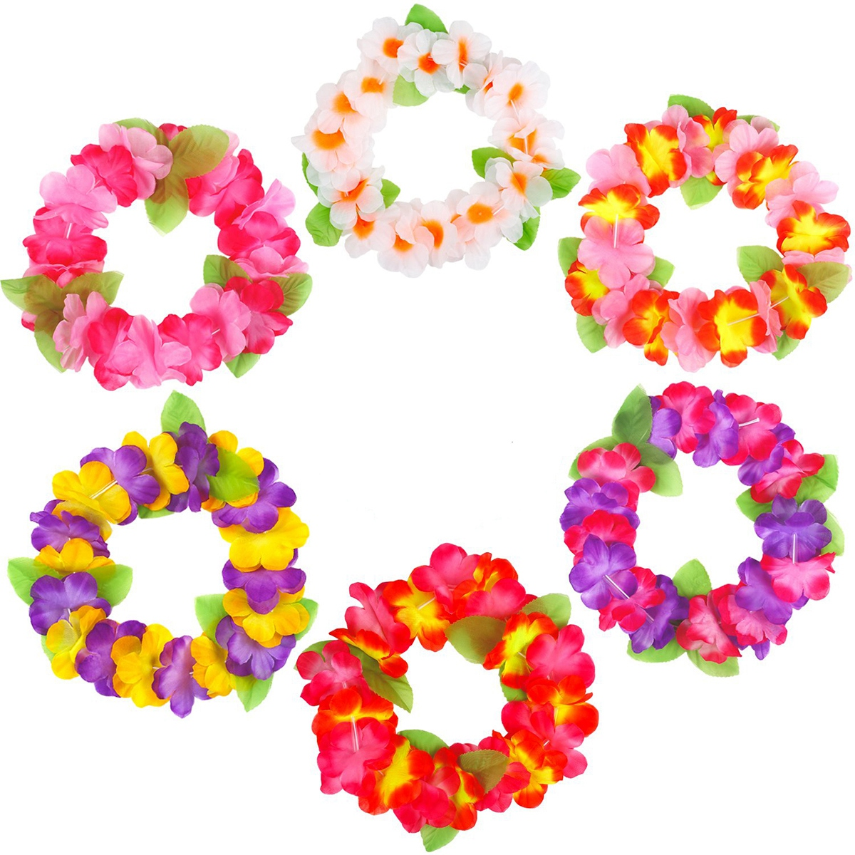 12PCS Hawaii Holiday Party Floral Headpiece Garland Headband Flower Crown Flower Headwear Head Wreath For Festival Photography
