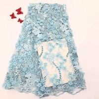 African lace fabric 2019 high quality 3d appliques lace embroidery tulle french lace trim beaded Nigerian lace fabrics for women
