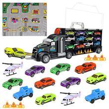 16 sztuk/zestaw samochód transportowy przewoźnik ciężarówka chłopców zabawki (w tym 10 samochodów i 2 helikoptery i 2 blokady dróg i mapa miasta) dla dzieci Kid