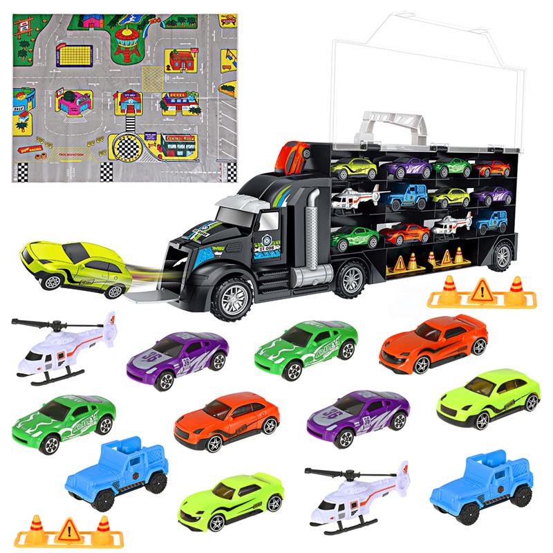 16Pcs/Set Transport Car Carrier Truck Boys Toy (include Alloy 10 cars &2 Helicopters &2 Roadblocks & City Map ) For Kid Children-in Diecasts & Toy Vehicles from Toys & Hobbies