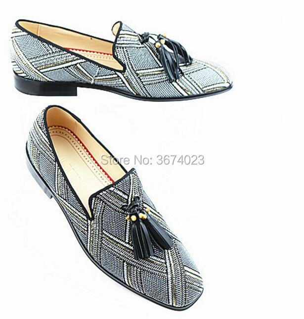Shoes Square Hecho Mocasines Mano On Tassel Chaussure Qianruiti Flats Homme Cross Slip Lattice Casual Hombres A Striped Toe PwgZ7qW1