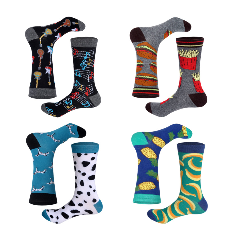 Casual Matching Socks Women Unisex Different Design Combinations Guitar-Notes Hamburger-fries Funny Cotton Long Christmas Socks