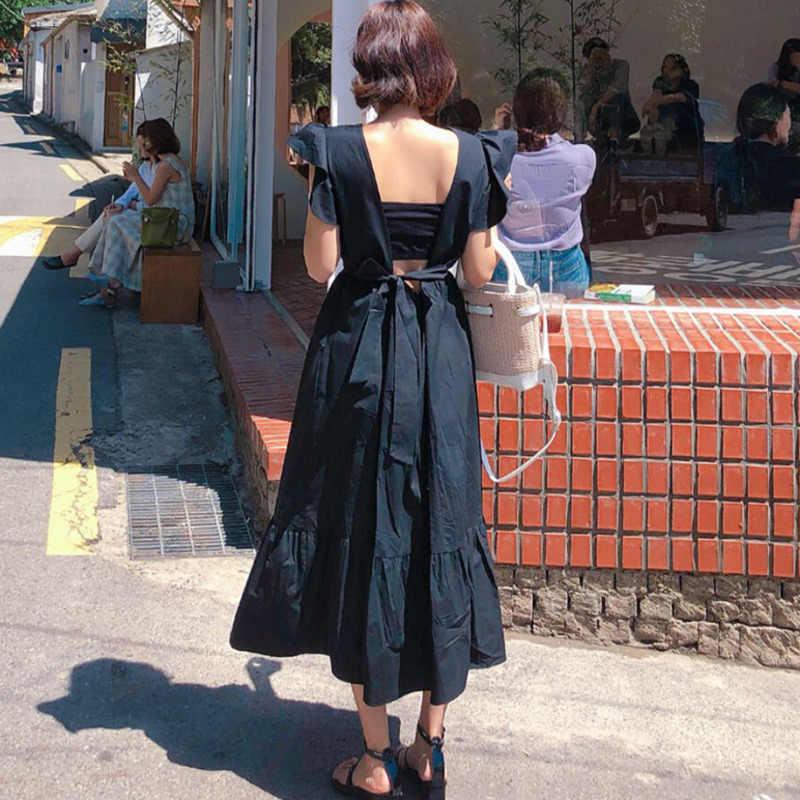 LANMREM/2019 летняя новая одежда для женщин в Корейском стиле, с квадратным воротником, с оборками, с открытой спиной, с бантом, свободные модные женские платья QG107