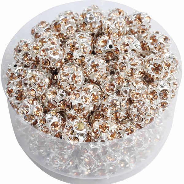 Sekitar 6/8/10 Mm Bulat Warna Campuran Logam Rhinestone Bead untuk Kalung Gelang Perhiasan Membuat Aksesoris Natal hadiah Grosir