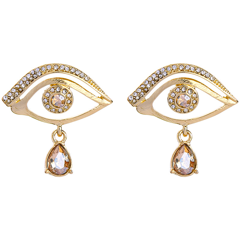 Water Drop Eyes Earrings New Trendy Guarding Gold Eyes Water Drop Teardrop Stud Earrings For Women Jewelry