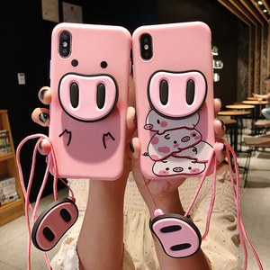 Funny Cartoon Pig Phone Case For iphone X XS Max XR Case For iphone 7 6 6s 8 8 plus Cover Cute Nose Stand Holder Soft Cases Capa(China)