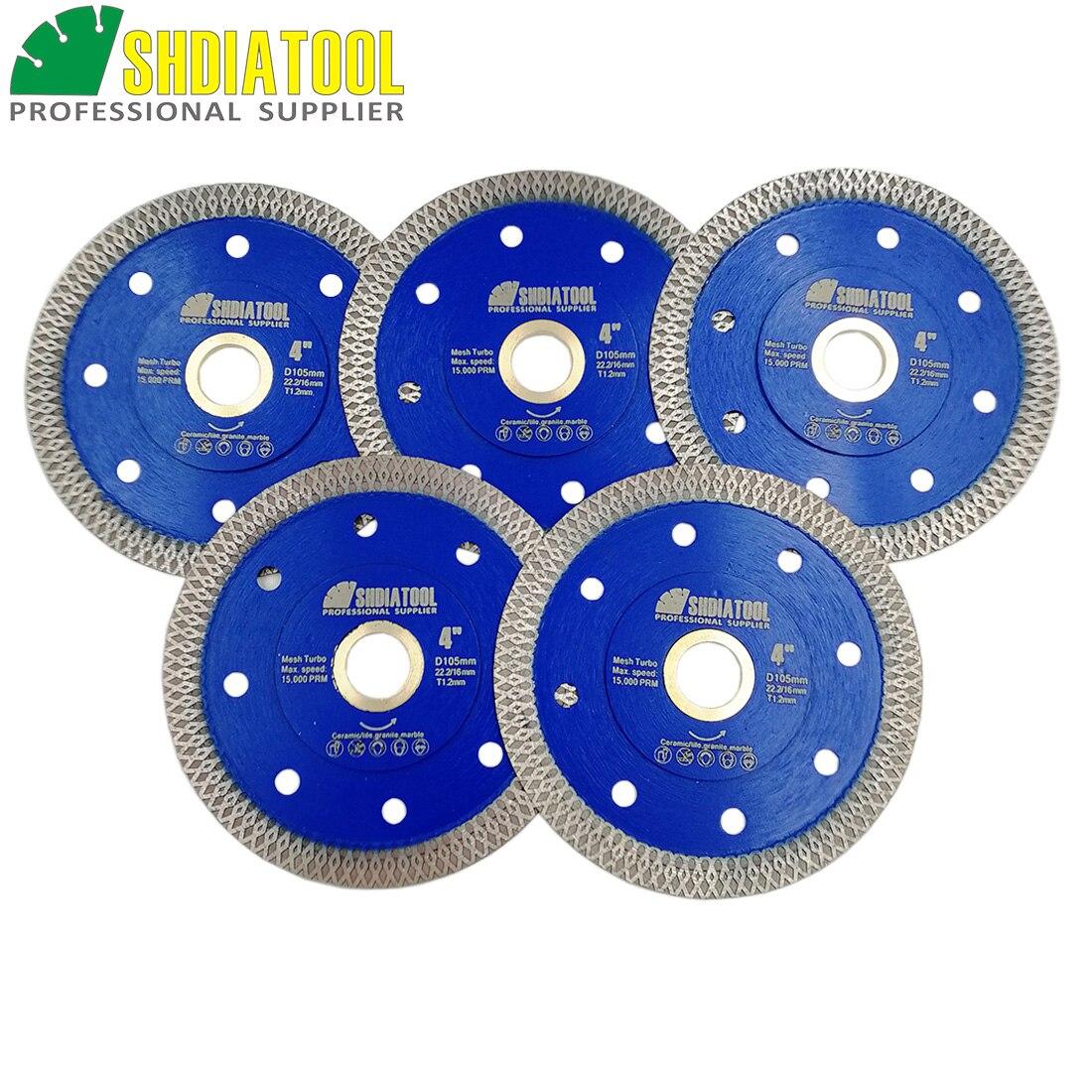 SHDIATOOL 5pcs Diamond Sintered Cutting Disc X Mesh Turbo Saw Blade Dia 4 105mm 4 5