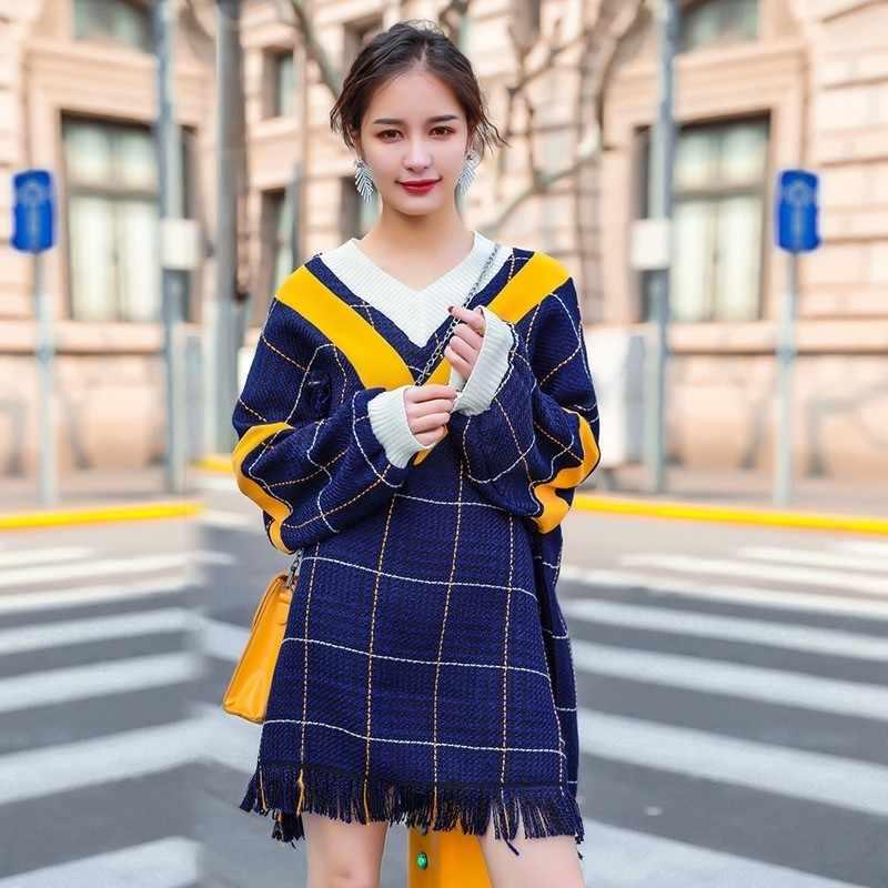 TWOTWINSTYLE, вязаное платье, женское, v-образный вырез, длинный рукав, хит, цвета, кисточка, мини, клетчатые платья для женщин, модные, корейские, осень 2018