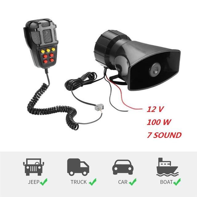 12V 100W 7 Màu Xe Ghi Âm Khẩn Cấp Còi Báo Động Khẩn Cấp Bộ Khuếch Đại Hooter Xe Còi Hú Còi Mic PA Hệ Thống Loa cho Xe SUV