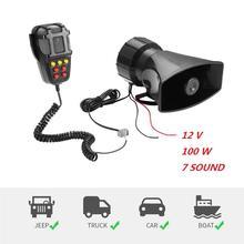 Amplificador de sirena de emergencia para coche, 12V, 100W, 7 tonos, con capucha, micrófono de sirena, sistema de altavoces PA para SUV